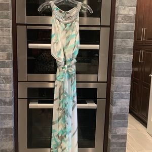 Vince Camuto Mint Gray White Beaded Maxi Dress